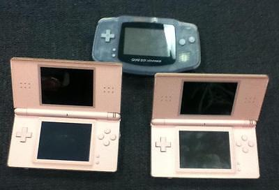 Nintendo Gameboy Advance and DS Lite Systems- Lot of 3 *DEFECTIVE*