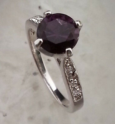 Natural Purple Amethyst GEMSTONE RING  STERLING 925SILVER SIZE 6.5