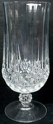 """CRIS D'ARQUES Durand Crystal LONGCHAMP pattern FOOTED ICED TEA Glass Goblet 7"""""""