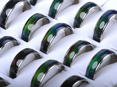 30pcs Wholesale Jewelery Bulks Mixed Change Color Silver Plated Mood Rings Women