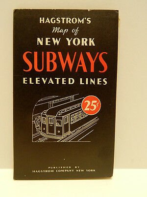 Vintage Hagstrom's Map of New York Subways Elevated Lines System Nice!