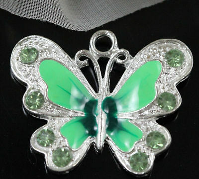 5Pcs Green Silver Plated Enamel Rhinestone Butterfly Charms Pendant 22x20MM
