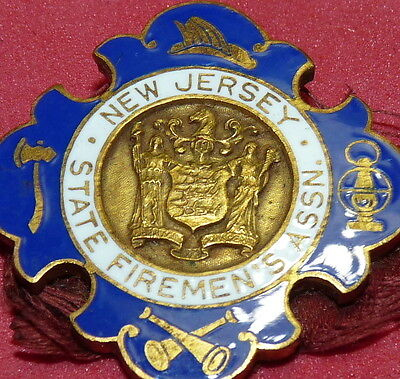 New Jersey/n.j State Firefighter Antique Fire Man Hose Medal