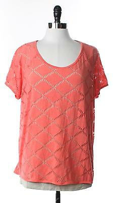 STYLE & CO. Womens Plus 1X Mesh Shirt Top Pull Over Lined Chic Orange Tee Ladies