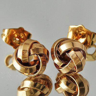 Special Womens Yellow Gold Filled intertwine Whirlwind Stud Earrings  D3750 T