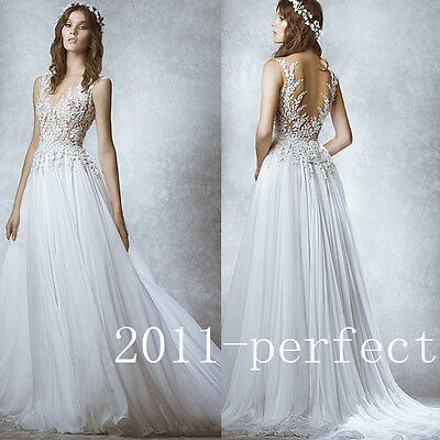 2015 Backless White/ Ivory Tulle V-neck Lace Bridal Gowns Wedding Dresses Custom