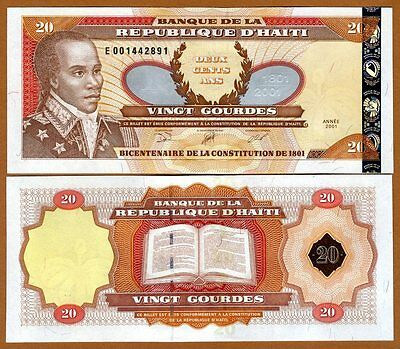 Haiti, 20 Gourdes, 2001, P-271A-New (2014), Commemorative, UNC