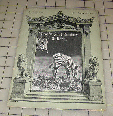 New York ZOOLOGICAL Society (July-August 1926) Bulletin Booklet Featuring ZEBRAS