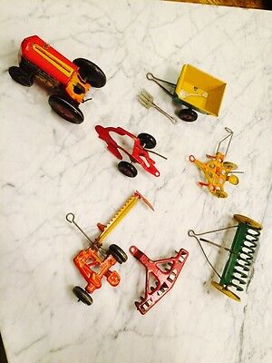 Marx Tin Tractor And 6 Farm Implements