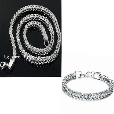 Men's Jewelry Set 6mm Stainless Steel Fashion Franco Chain Necklace Bracelet