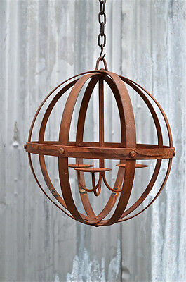 Unusual Handmade Wrought Iron Hanging Candle Orb Riveted Iron Sphere Medium