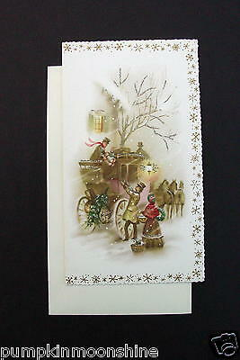 Vintage Unused Glittered Xmas Greeting Card Victorian Holiday Stagecoach
