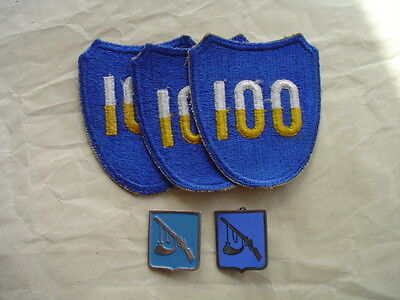 WWII 100TH DIV PATCHES (3) & 399TH INF DI (2)-PAINTED GROUPING