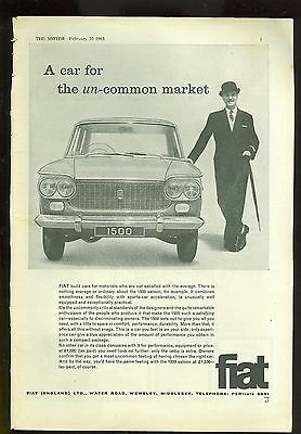 1963 Fiat 1500 Black & White Magazine Advert