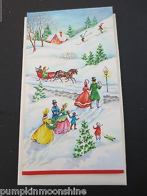 # I919- Vintage Unused Glittered Xmas Greeting Card Victorian Family Outing