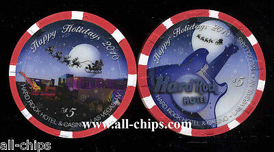 $5 Hard Rock Christmas 2010 Holidays Las  Vegas Casino Chip Limited Uncirculated
