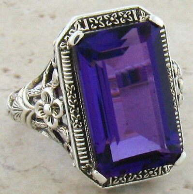 6 CT. LAB AMETHYST ANTIQUE ART DECO STYLE .925 STERLING SILVER RING SIZE 9,#373