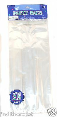 25 Large Clear Party Bags with Twist Ties Children's Birthday Wedding Favours