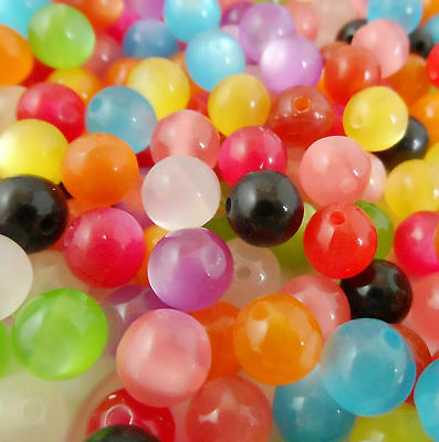 """100Pcs Mixed """"cat's eye"""" Acrylic Spacer Beads Fit Bracelet Jewelry 8mm Free Ship"""