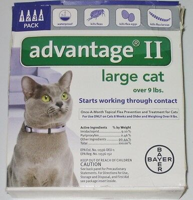 Advantage II for Cats - Purple - over 9 lbs  4pk - 4 Month Supply (NEW)