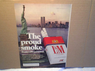1976 TWIN TOWERS New York Statue Of Liberty Ad Print Only l & m cigarettes proud