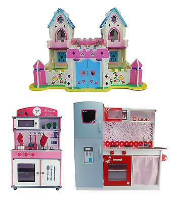 Kids Wooden Princess Palace Or Toy Kitchen Children's Role Play Set Dolls House