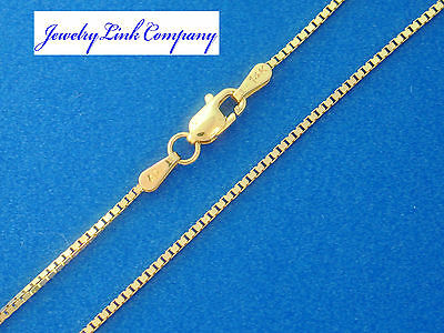 """14K Yellow Gold 1mm Box Chain w/ Lobster Clasps Italian Made 20"""" 3.2g"""