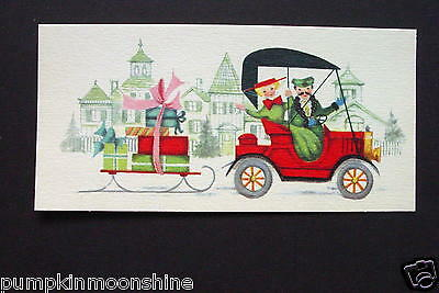 Vintage Unused Xmas Greeting Card Victorian Couple Riding Fancy Red Car