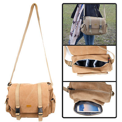 Premium Vintage Tan Canvas Satchel Bag / Case W/ Padding for DSLR / SLR Cameras