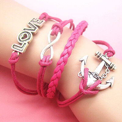NEW DIY Hot Fashion LOVE Anchors Leather Cute Charm Bracelet plated Silver D40