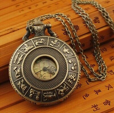 New 12 Constellations Map Electronic Necklace/Pocket Watch With Chain+ Gift-Bag.