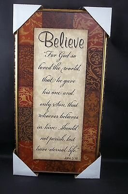 Rustic Wood Wall Sign Plaque Believe God so Loved World Only Son John 3:16