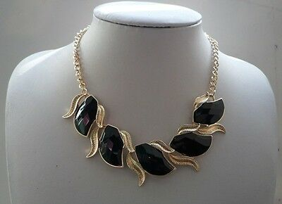 New Design Fashion Jewelry Black Resin Golden Leaf Flower Choker Bib Necklace