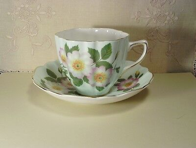 Old Royal Apple Blossoms Fluted Teacup and Saucer, Gold Scalloped Trim England