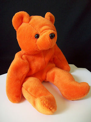 "Avon Full O Beans Stuffed Beanie Animal Orange Teddy Bear ""Bernard Bear"" 1997"
