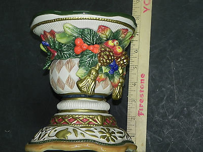 """Z8 FITZ & FLOYD CHRISTMAS CANDLE REST PILLAR STAND BASE 7"""" x 6"""""""