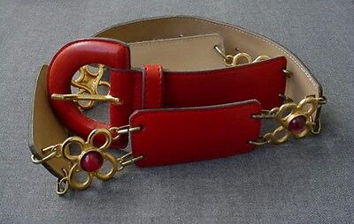 VINTAGE 80'S ROBERTO DALPRA CABOUCHON GOLDEN METAL FLOWERS RED LEATHER  BELT  70