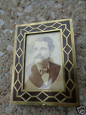 ANTIQUE VICTORIAN 19thC ARTS & CRAFTS BRASS INLAID WOOD SMALL PHOTO FRAME