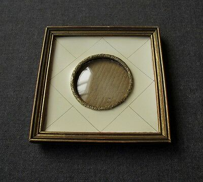 ANTIQUE FLOWERS BRASS CREAMY CELLULOID WOODEN FRAME FOR MINIATURES OR PICTURES