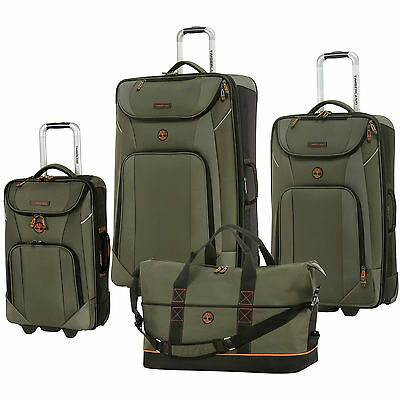 TIMBERLAND GREAT MEADOW OLIVE BLACK 4 PIECE EXPANDABLE LUGGAGE SET $1280 VALUE