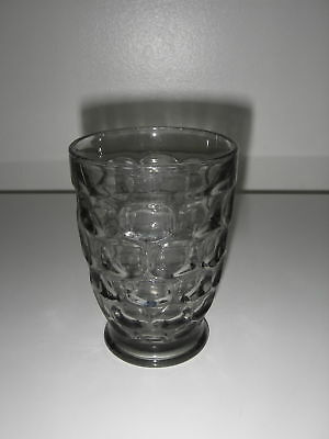 "Federal Glass YORKTOWN Smoke Tumbler footed 6 oz 3 7/8"" Mid-Century .."