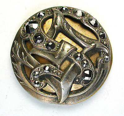 Lg Antique Brass Dome  Button Fancy Brass Floral Overlay w/ Cut Steel Accents