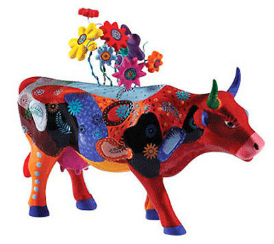 # New COW PARADE Figurine MOOQUET Statue FLOWER BOUQUET Figure AUSTIN Floral