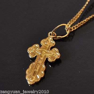 Fashion Women 18K Yellow Gold Filled Carved Cross Necklace Curb Chain Link 17.7""