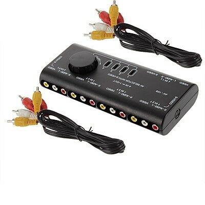 4 Way Audio Video AV Switch Switcher 4 Input 1 Output Splitter Box + 2 RCA Cable