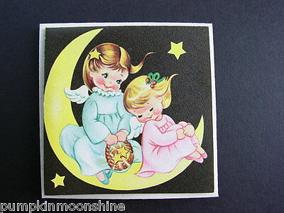 Vintage Unused Norcross Xmas Greeting Card Sweet Little Angels Sitting On Moon