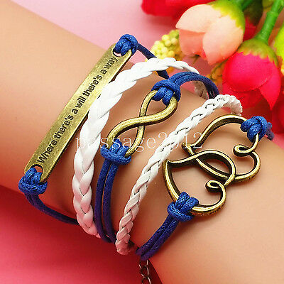 NEW Fashion Heart Blue/White Leather Cute Charm Bracelet plated Copper D219