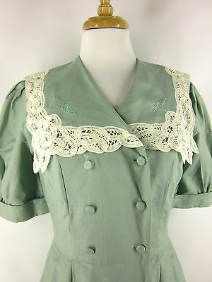 Vtg Laura Ashley Linen Blend Green Double Breasted Dress Lace Sailor Collar Sz 4