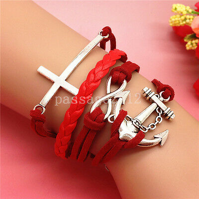 NEW DIY Fashion Cross Anchors Leather Cute Charm Bracelet plated Silver B208