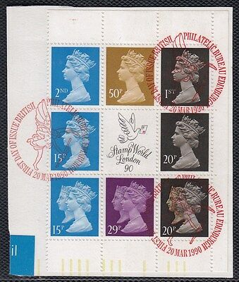 VG14 GREAT BRITAIN POSTALLY USED BLOCK FROM 1990 PANE FDC LEFT ON PAPER - NICE